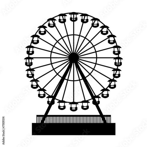 Silhouette Park Atraktsion Ferris Wheel. Vector - 71109314