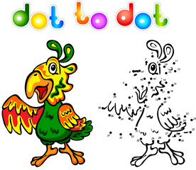 Funny cartoon parrot dot to dot