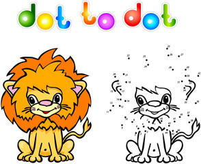 Funny cartoon lion dot to dot