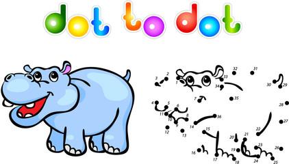 Funny cartoon hippo dot to dot