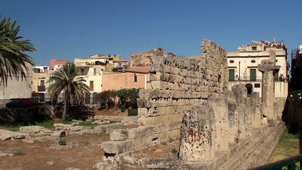 Doric Temple of Apollo at Piazza Pancali in Syracuse. Sicily