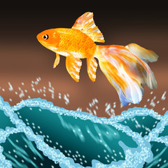 Goldfish jumping out