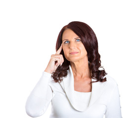 woman thinking pensive face expression looking up