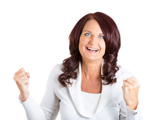 woman exults celebrates success super excited