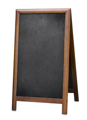old standing menu blackboard isolated with clipping path