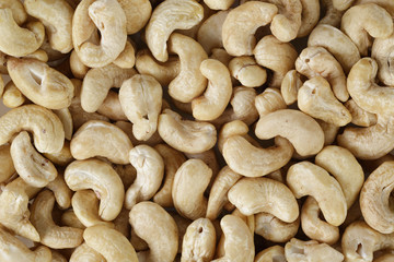 dried cashew nuts close up