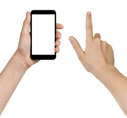 female teen hands using generic smarpthone