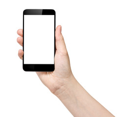 female teen hand holding generic smartphone
