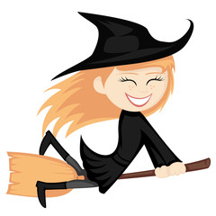 Witches all around - ginger witch girl is riding on a broom