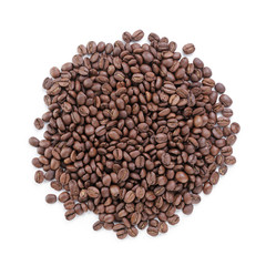 heap of freshly roasted arabica coffee beans