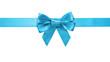 canvas print picture - azure blue ribbon bow horizontal border
