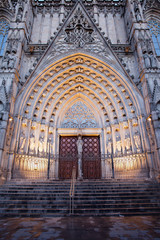 Gothic Portal to the Barcelona Cathedral