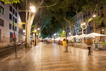 La Rambla at Night  in Barcelona