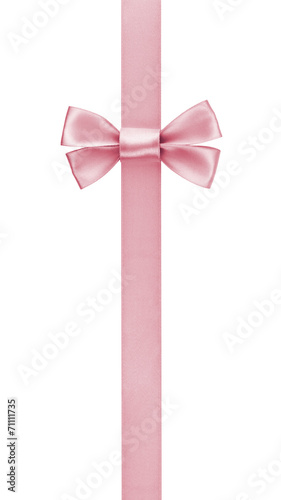 Leinwandbild Motiv vertical border with rose pink color ribbon bow