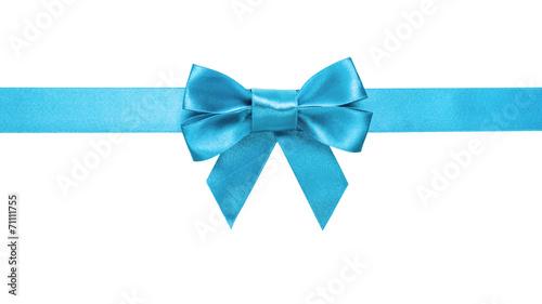 canvas print picture azure blue ribbon bow horizontal border