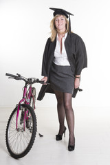 Mature University student wearing mini skirt with bicycle
