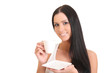 beautiful woman with an aromatic coffee in hands