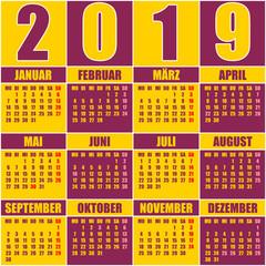 Kalender 2019 Deutsch