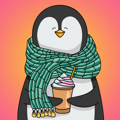 Happy penguin with scarf drinking coffee cream