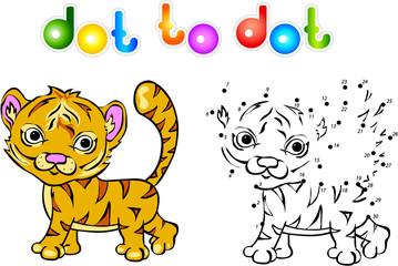 Funny cartoon tiger dot to dot