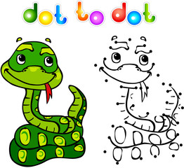 Funny cartoon snake dot to dot