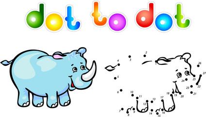 Funny cartoon rhino dot to dot
