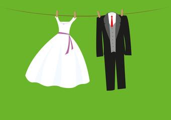 Hochzeitskleidung auf der Wäscheleine