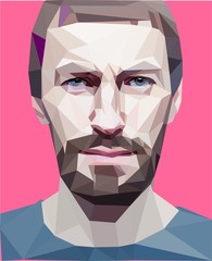 "Trendy ""low poly"" style man head. vector concept"