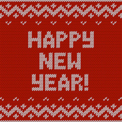 Card of Happy New Year 2015 with knitted texture. Vector retro