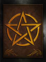 Pentagramm Gold -  Leder Rahmen Wand