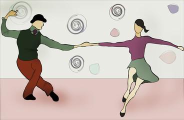 Swing Dancing couple. Swing Music