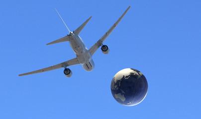 地球儀と飛行機