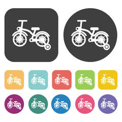 Bicycle With Training Wheels Icons Set. Round And Rectangle Colo