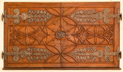 Old decorative wooden door