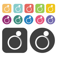 Ring Icon. Clothes Flat Icons Set. Round And Rectangle Colourful