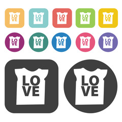 Shirt With Love Design Icon. Clothes Flat Icons Set. Round And R