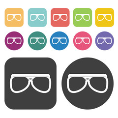 Glasses Icon. Clothes Flat Icons Set. Round And Rectangle Colour