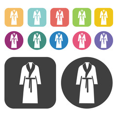 Bath Robe Icon. Clothes Flat Icons Set. Round And Rectangle Colo