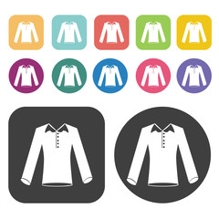 Long Sleeve Shirt Icon. Clothes Flat Icons Set. Round And Rectan