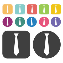 Neck Tie Icon. Clothes Flat Icons Set. Round And Rectangle Colou