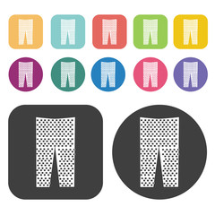 Plaid Pants Icon. Clothes Flat Icons Set. Round And Rectangle Co