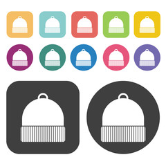 Beanie Icon. Clothes Flat Icons Set. Round And Rectangle Colourf