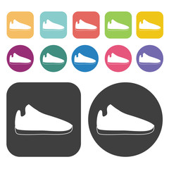 Shoe Icon. Clothes Flat Icons Set. Round And Rectangle Colourful