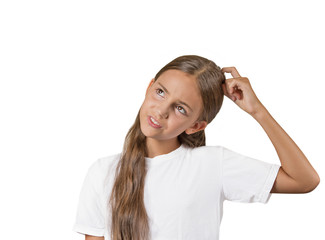 girl scratching head, thinking remembering white background