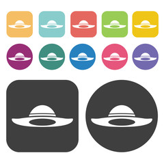 Sun Hat Icon. Clothes Flat Icons Set. Round And Rectangle Colour
