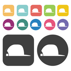Cap Side View Icon. Clothes Flat Icons Set. Round And Rectangle