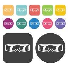Sports Sunglasses Icon. Clothes Flat Icons Set. Round And Rectan