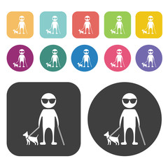 Blind person with cane and guide dog icon. Disabled Related icon
