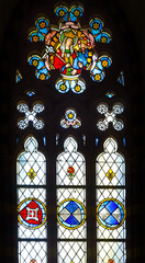 Medieval stained glass window, from Malbork castle, Poland.