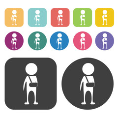 Person with two broken legs icon. Disabled Related icons set. Ro